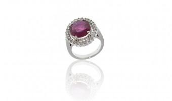 anello in oro bianco con rubino e brillantI