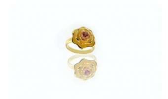 anello fiore in oro giallo con zaffiro mandarino