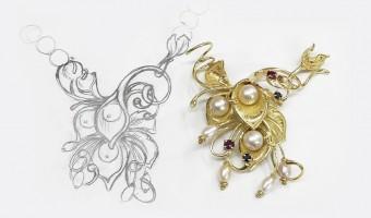 chiusura in oro giallo e perle, orafo roma